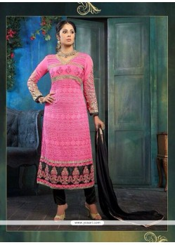 Sangita Ghose Pink Embroidery Churidar Suit