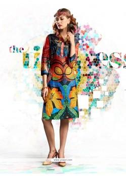 Intriguing Cotton Satin Multi Colour Digital Print Work Party Wear Kurti