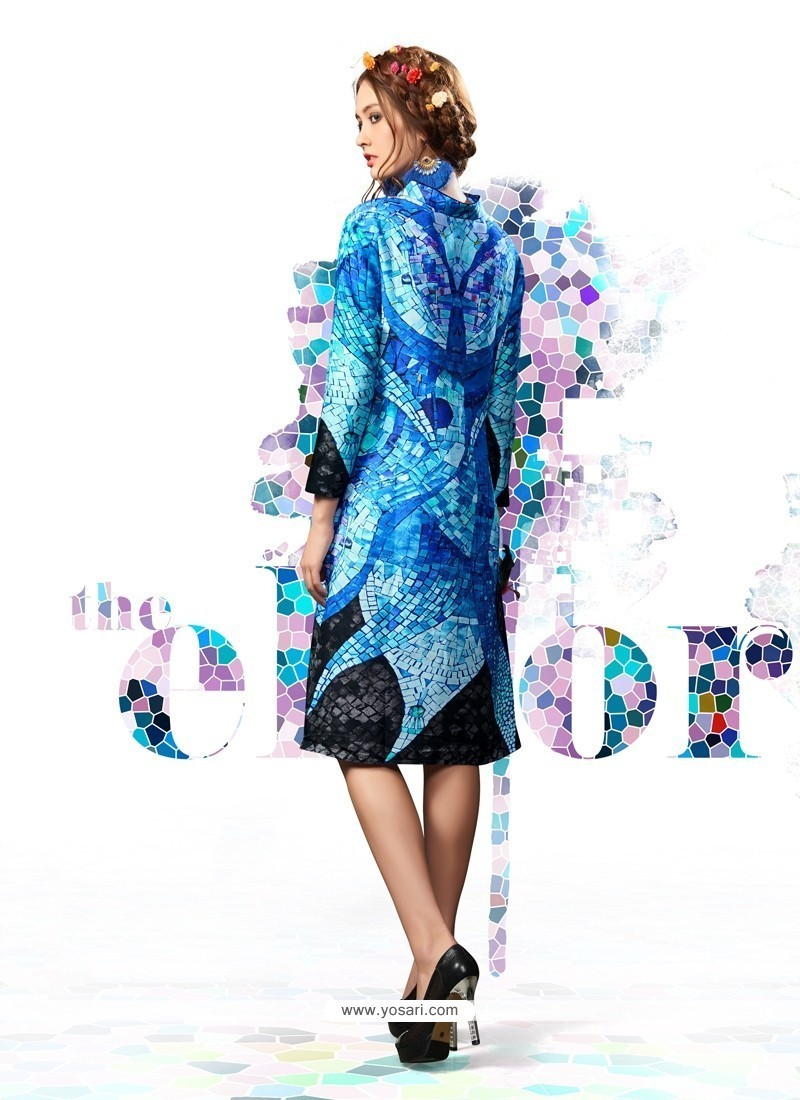 Digital Print Cotton Satin Party Wear Kurti In Multi Colour