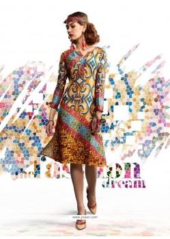Modest Digital Print Work Multi Colour Designer Kurti