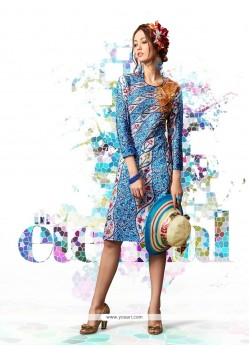 Hypnotizing Cotton Satin Multi Colour Designer Kurti