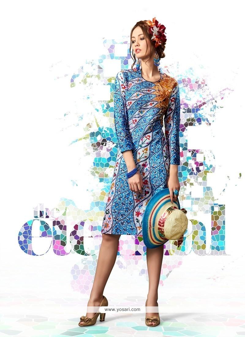 Hypnotizing Cotton Satin Multi Colour Designer Kurti