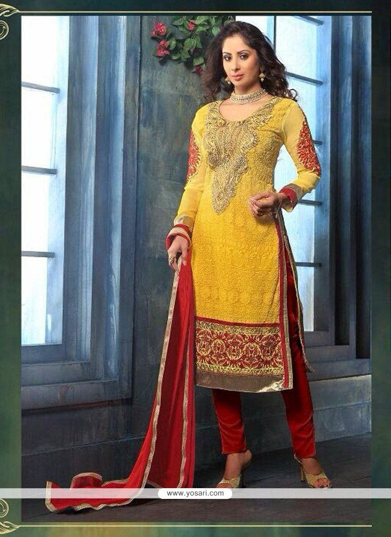 Sangita Ghose Yellow Georgette Churidar Suit
