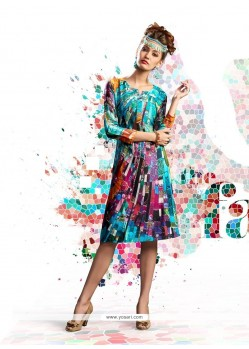 Haute Multi Colour Digital Print Work Designer Kurti
