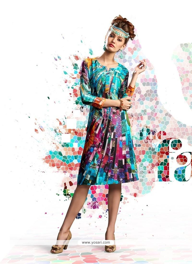 Haute Multi Colour Digital Print Work Designer Kurti