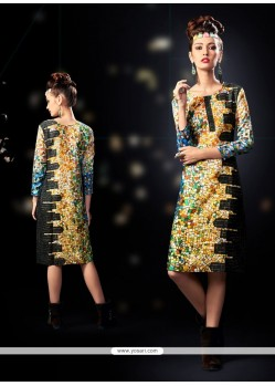 Fantastic Digital Print Work Cotton Satin Designer Kurti