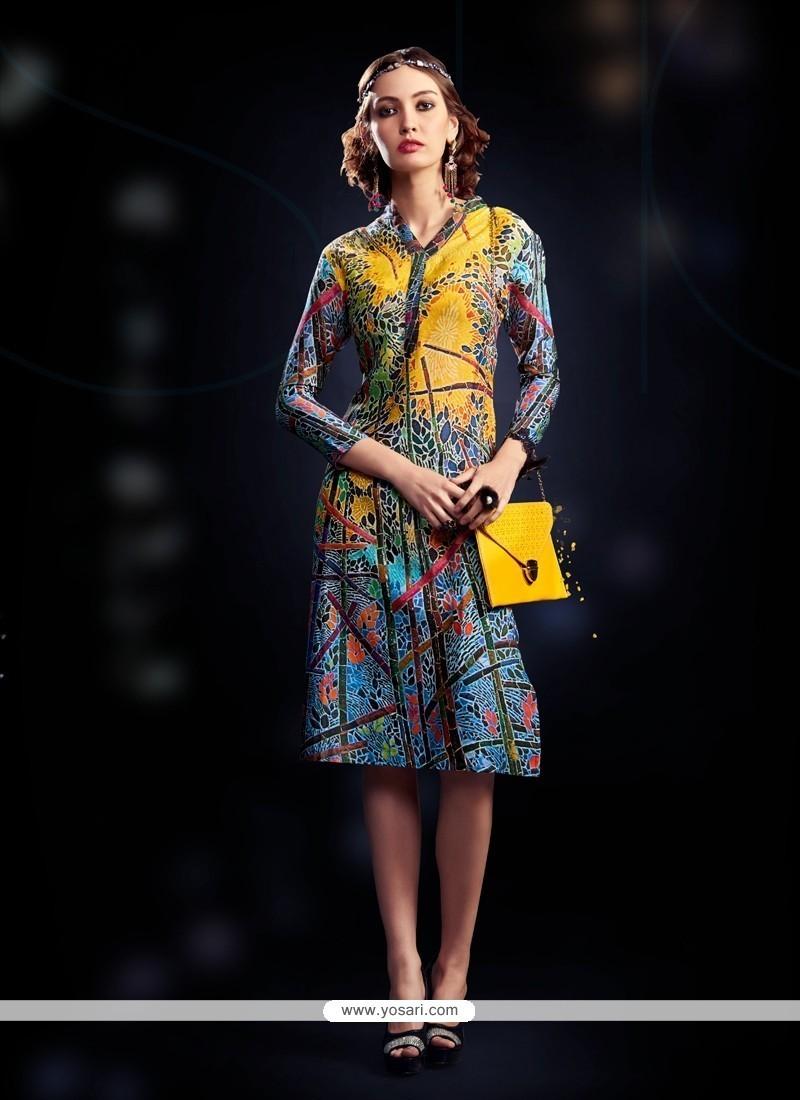 Invigorating Cotton Satin Multi Colour Digital Print Work Party Wear Kurti