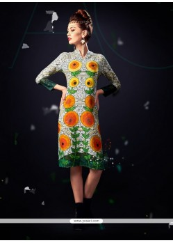 Breathtaking Cotton Satin Multi Colour Designer Kurti
