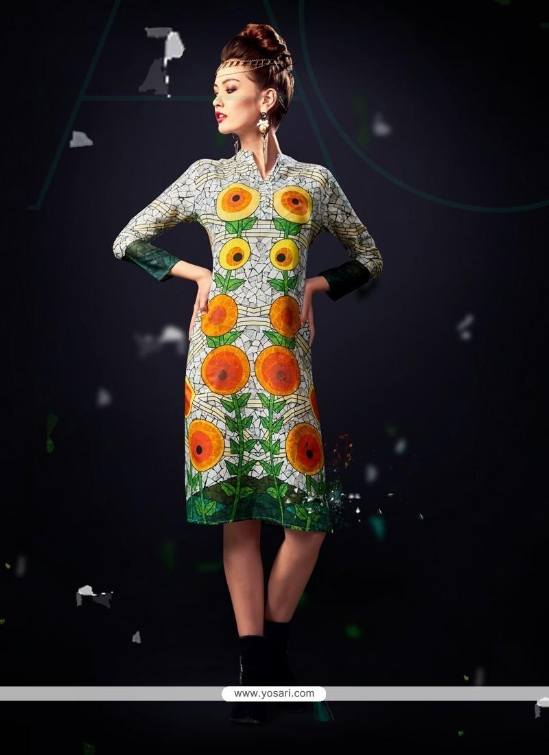 Breathtaking Cotton Satin Multi Colour Designer Kurti