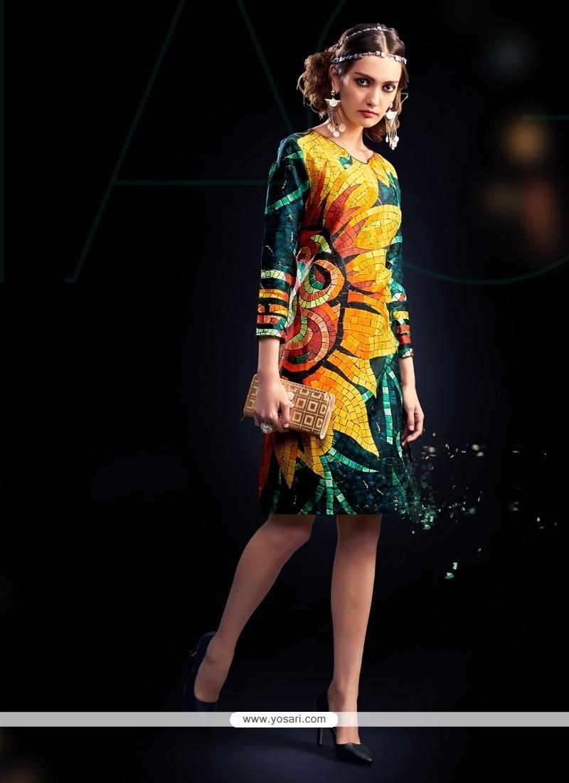 Amusing Digital Print Work Multi Colour Cotton Satin Designer Kurti