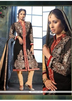 Sangita Ghose Black And Cream Zari Work Churidar Suit