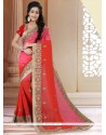 Exciting Pink And Red Embroidered Work Georgette Classic Saree