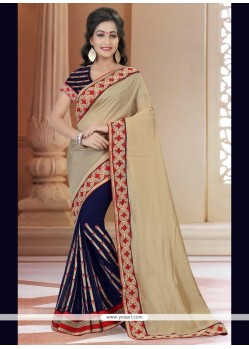 Opulent Satin Embroidered Work Designer Saree