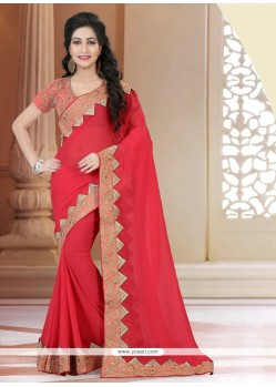 Monumental Patch Border Work Hot Pink Classic Designer Saree