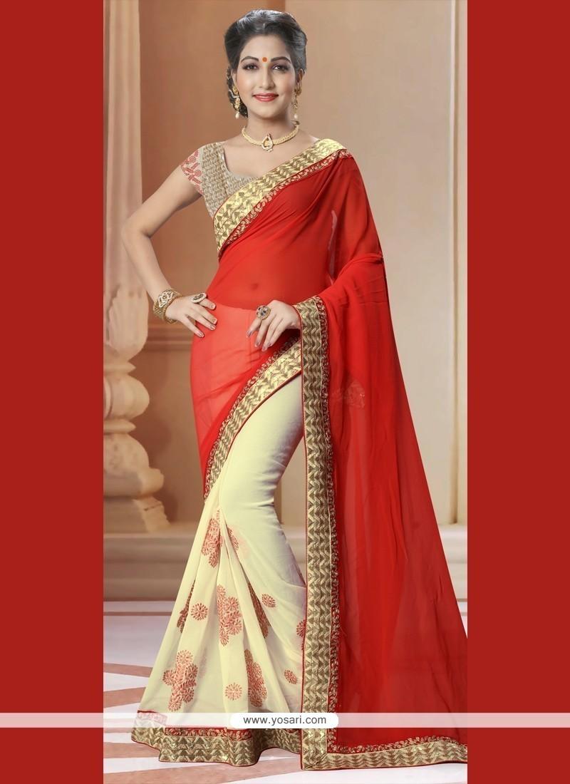 Classy Georgette Red Designer Saree