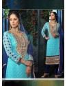 Sangita Ghose Blue Georgette Churidar Suit