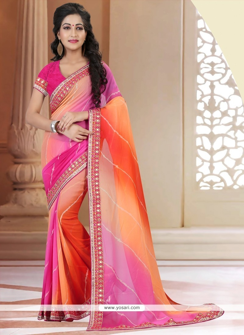 Magnificent Patch Border Work Multi Colour Printed Saree