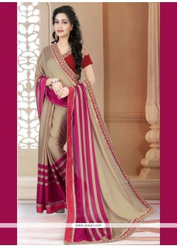 Unique Patch Border Work Beige Designer Saree