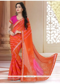 Deserving Georgette Orange Printed Saree