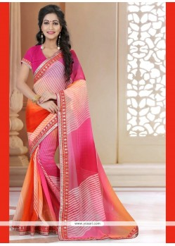 Titillating Multi Colour Georgette Printed Saree