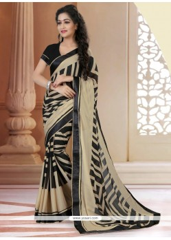 Flattering Georgette Black Printed Saree