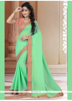 Pretty Georgette Sea Green Classic Saree