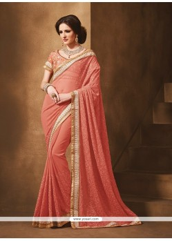 Brilliant Georgette Patch Border Work Designer Saree