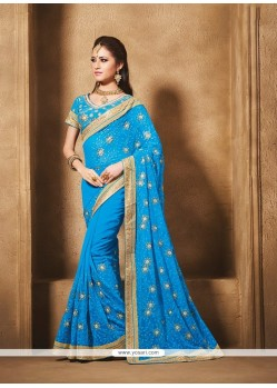 Orphic Georgette Blue Designer Traditional Sarees