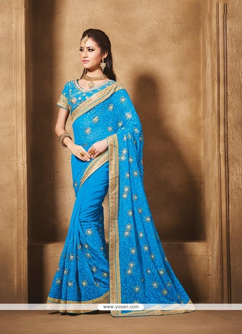 Orphic Georgette Blue Designer Traditional Sarees