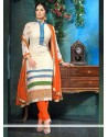 Sangita Ghose White Viscose Georgette Churidar Suit