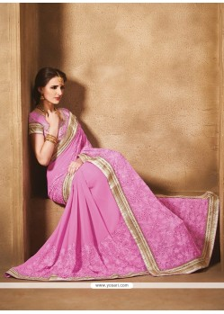 Prepossessing Georgette Embroidered Work Traditional Saree