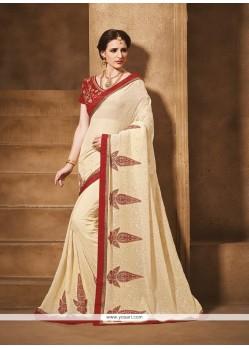 Fine Georgette Beige Designer Saree