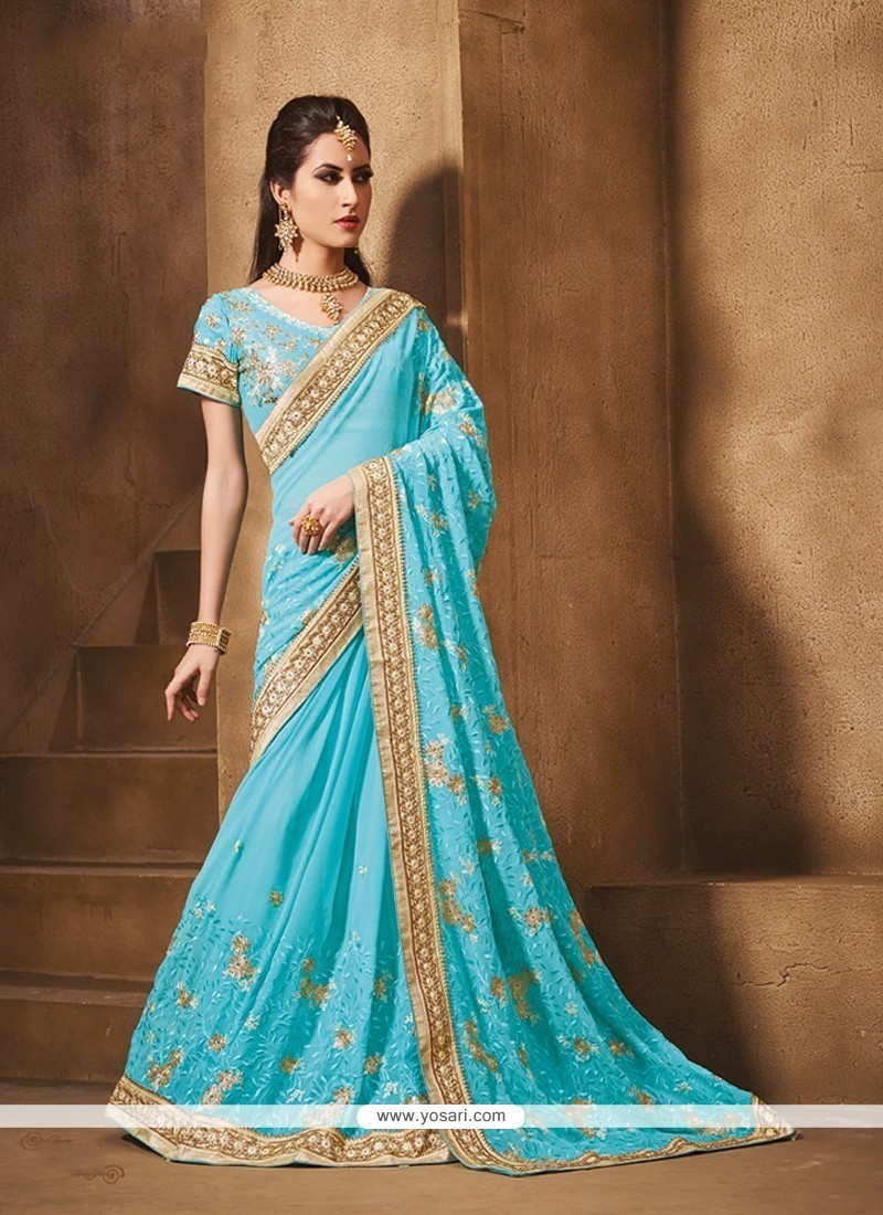 Enchanting Embroidered Work Turquoise Classic Saree