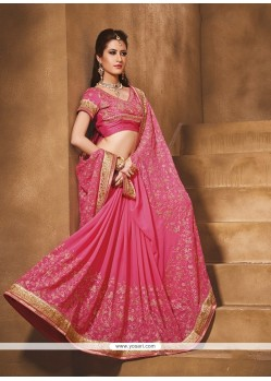 Delectable Hot Pink Patch Border Work Classic Designer Saree