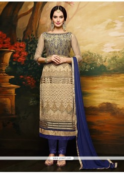 Catchy Resham Work Net Churidar Designer Suit