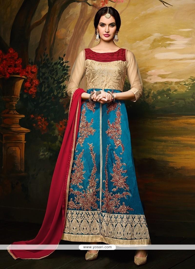 Dazzling Georgette Blue Anarkali Salwar Kameez