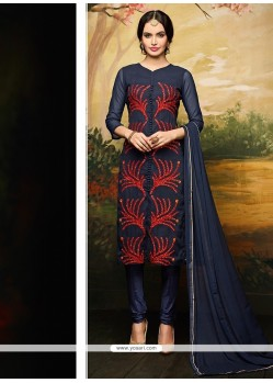 Ruritanian Navy Blue Embroidered Work Net Churidar Designer Suit