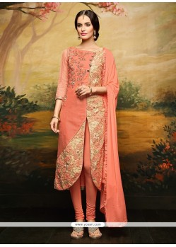 Jazzy Embroidered Work Rose Pink Churidar Designer Suit