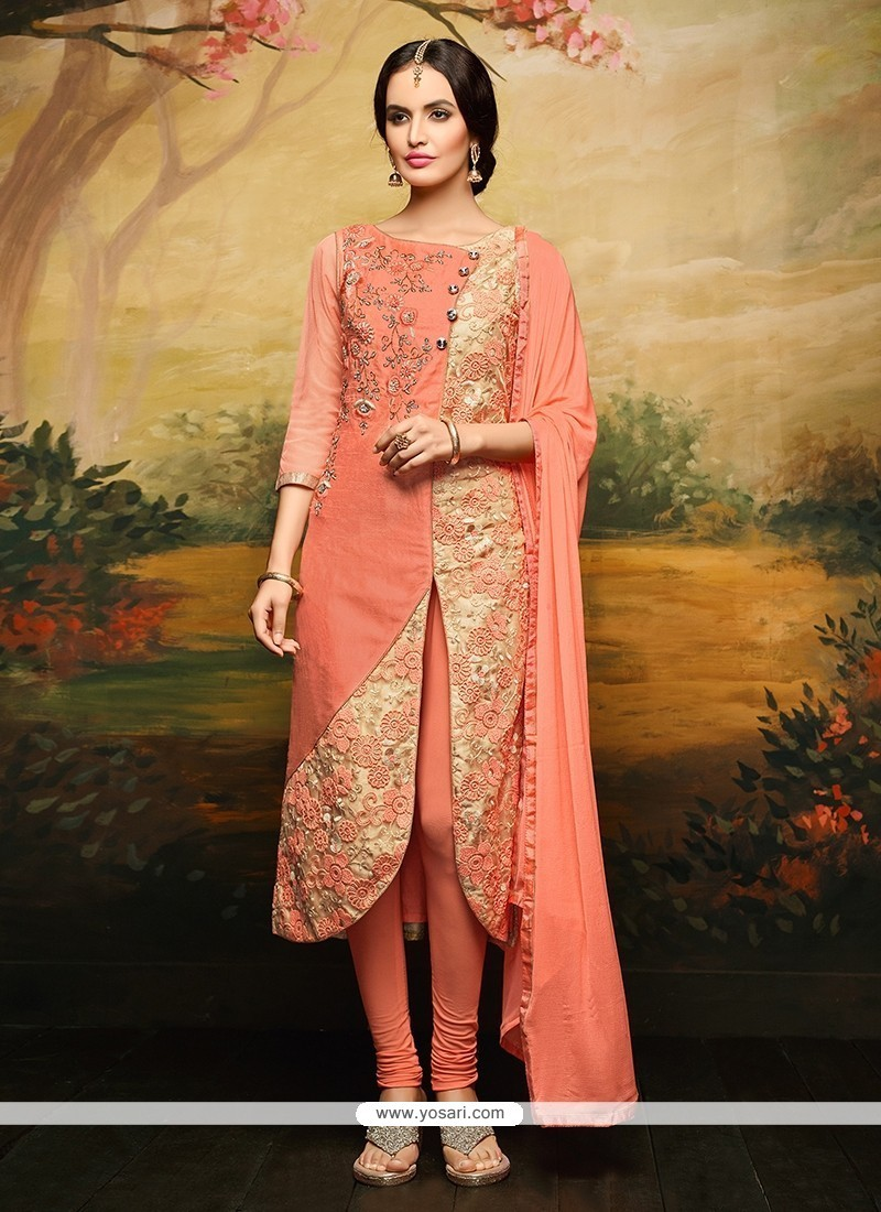 Jazzy Embroidered Work Rose Pink Churidar Designer Suit