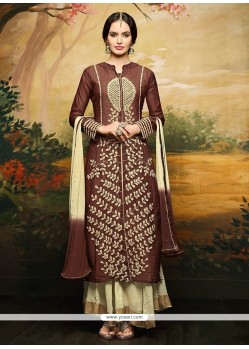 Perfervid Brown Designer Palazzo Salwar Kameez