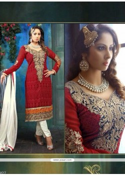 Sangita Ghose Maroon Zari Churidar Suit