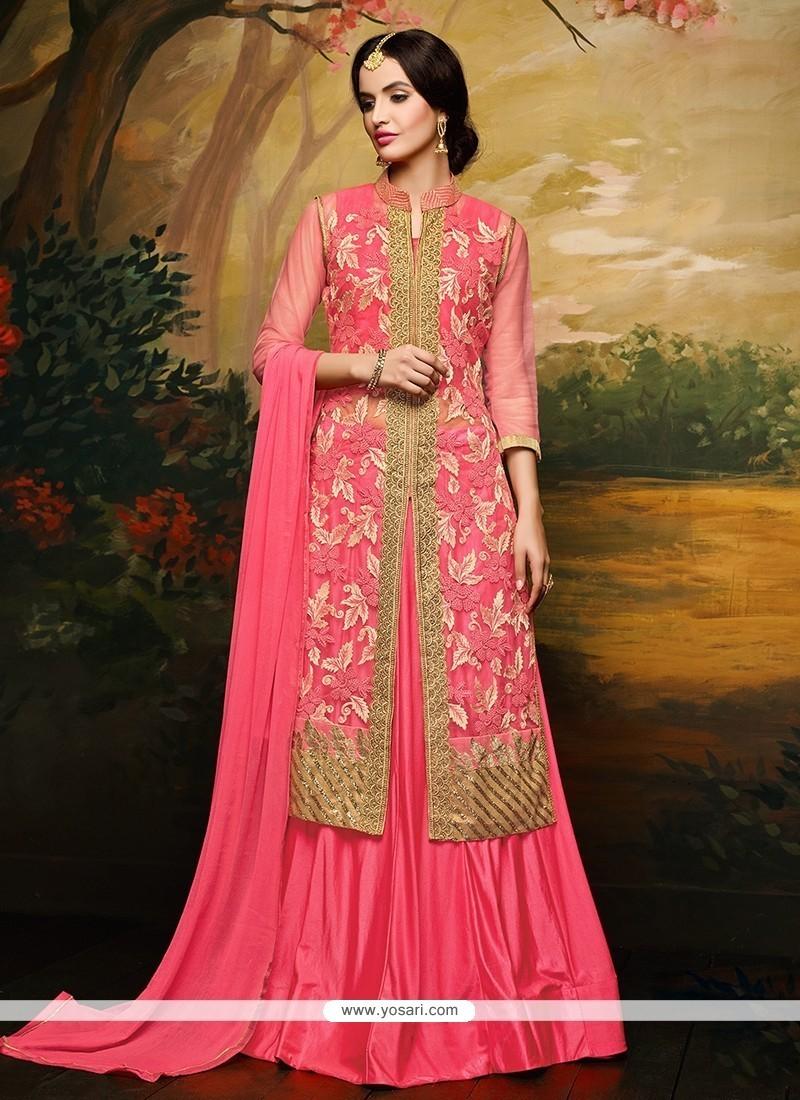 Deserving Rose Pink Embroidered Work Georgette Designer Lehenga Choli