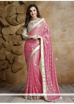 Patch Border Jacquard Designer Saree In Pink