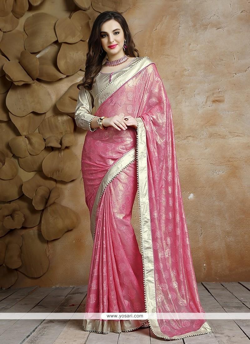 Patch Border Jacquard Designer Saree In Pink