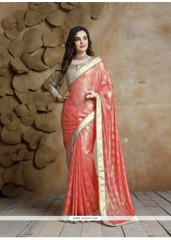 Flattering Jacquard Patch Border Work Traditional Saree