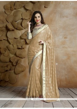 Elegant Beige Patch Border Work Jacquard Classic Saree