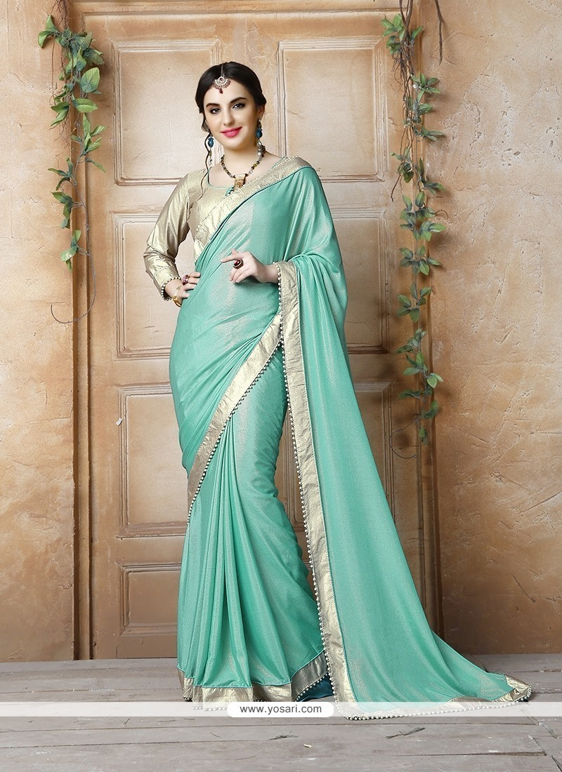 Adorable Georgette Turquoise Patch Border Work Designer Saree