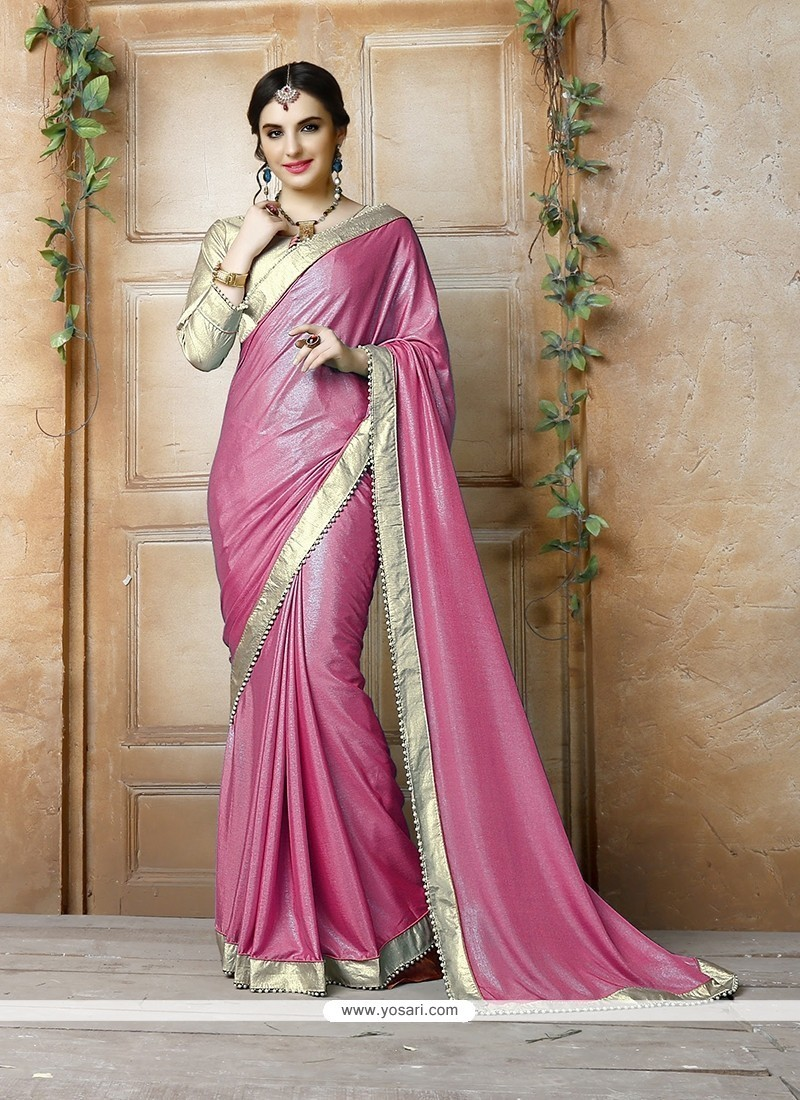 Precious Hot Pink Patch Border Work Georgette Classic Designer Saree