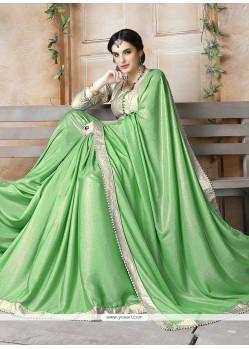 Gilded Georgette Sea Green Designer Saree