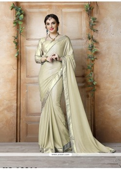 Fantastic Georgette Beige Patch Border Work Saree